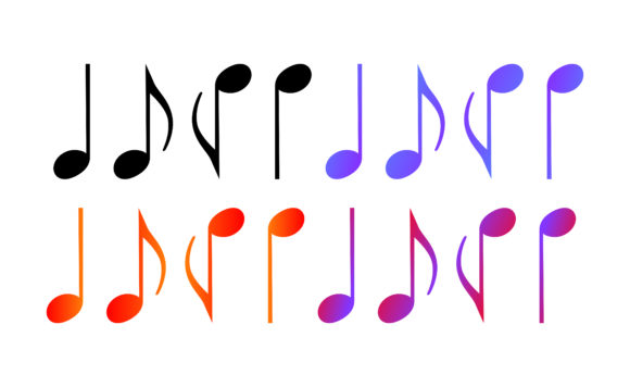 Print on Demand: Icon Set of Musical Notes with Gradation Graphic Crafts By Arief Sapta Adjie - Image 1