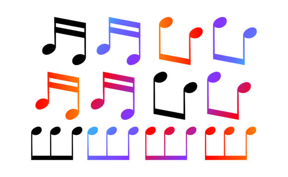 Print on Demand: Icon Set of Musical Notes with Gradation Graphic Crafts By Arief Sapta Adjie