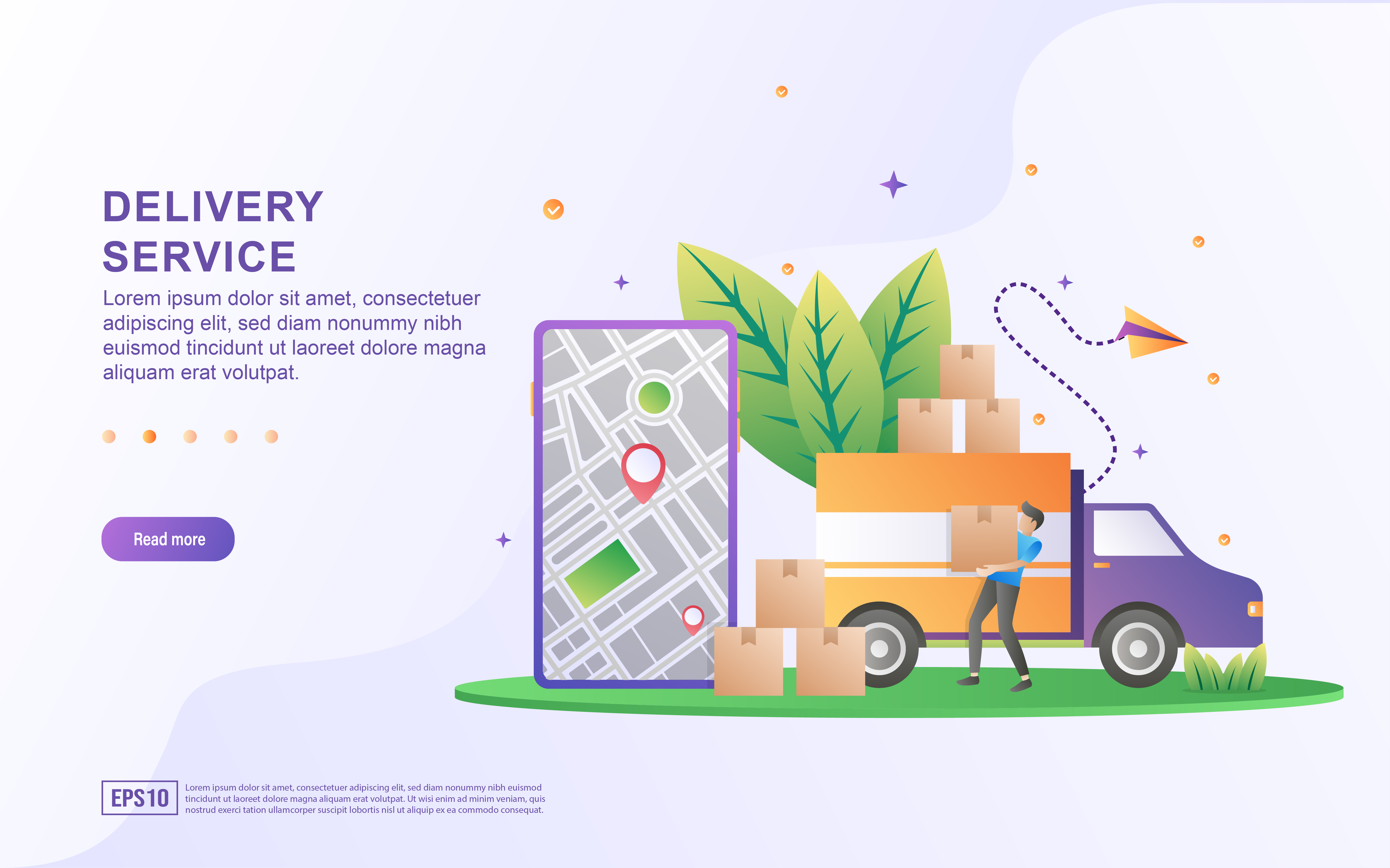 Download Free Illustration Concept Of Delivery Service Graphic By Efosstudio for Cricut Explore, Silhouette and other cutting machines.