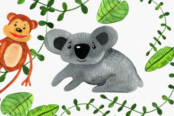 Jungle Baby Animals Clipart Set. Graphic Illustrations By RedDotsHouse