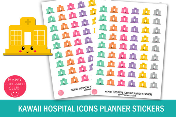 Kawaii Hospital Icons Planner Stickers Graphic Crafts By Happy Printables Club