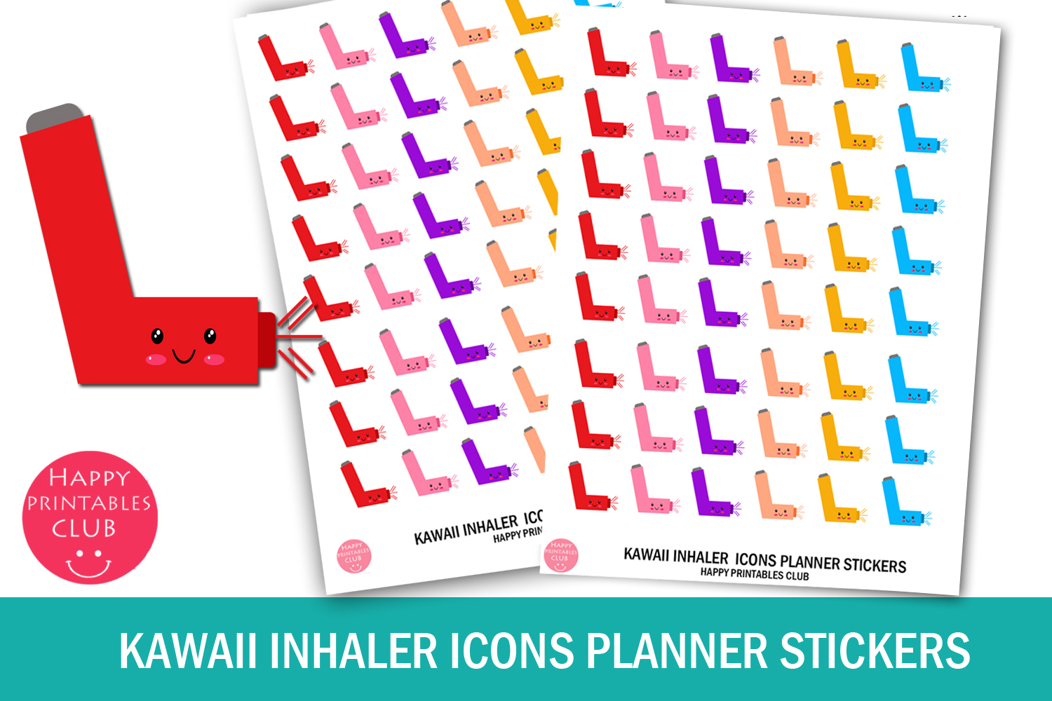 Download Free Kawaii Inhaler Icons Planner Stickers Graphic By Happy for Cricut Explore, Silhouette and other cutting machines.