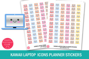 Kawaii Laptop Icons Planner Stickers Graphic Crafts By Happy Printables Club