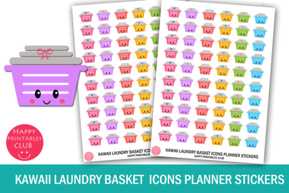 Print on Demand: Kawaii Laundry Basket Planner Stickers Graphic Crafts By Happy Printables Club - Image 1