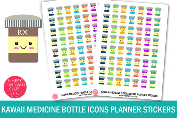 Download Free Kawaii Medicine Bottle Icons Stickers Graphic By Happy for Cricut Explore, Silhouette and other cutting machines.