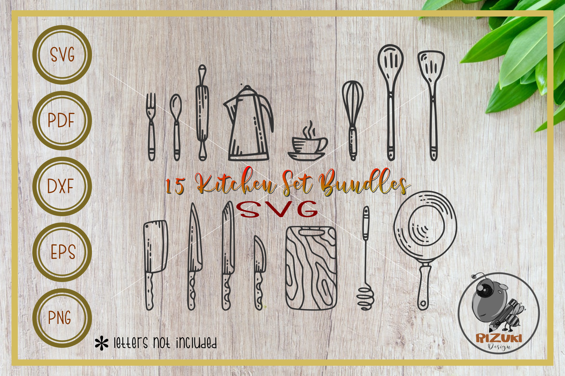 Download Free Kitchen Kitchen Tool Line Art Graphic By Rizuki Store for Cricut Explore, Silhouette and other cutting machines.