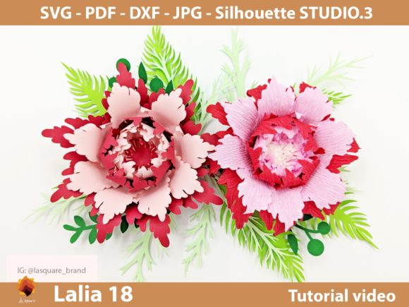 Lalia 18 Paper Flowers Templates in Set Graphic 3D Flowers By lasquare.info