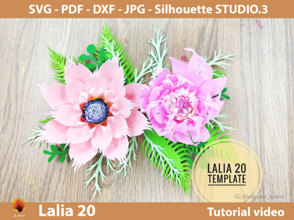 Download Free Lalia 20 Paper Flowers Templates Graphic By Lasquare Info for Cricut Explore, Silhouette and other cutting machines.