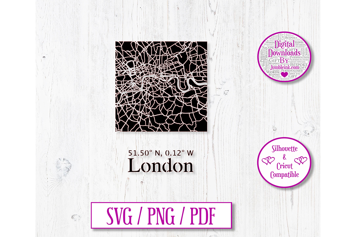 Download Free London Road Map Decal Graphic By Jumbleink Digital Downloads for Cricut Explore, Silhouette and other cutting machines.