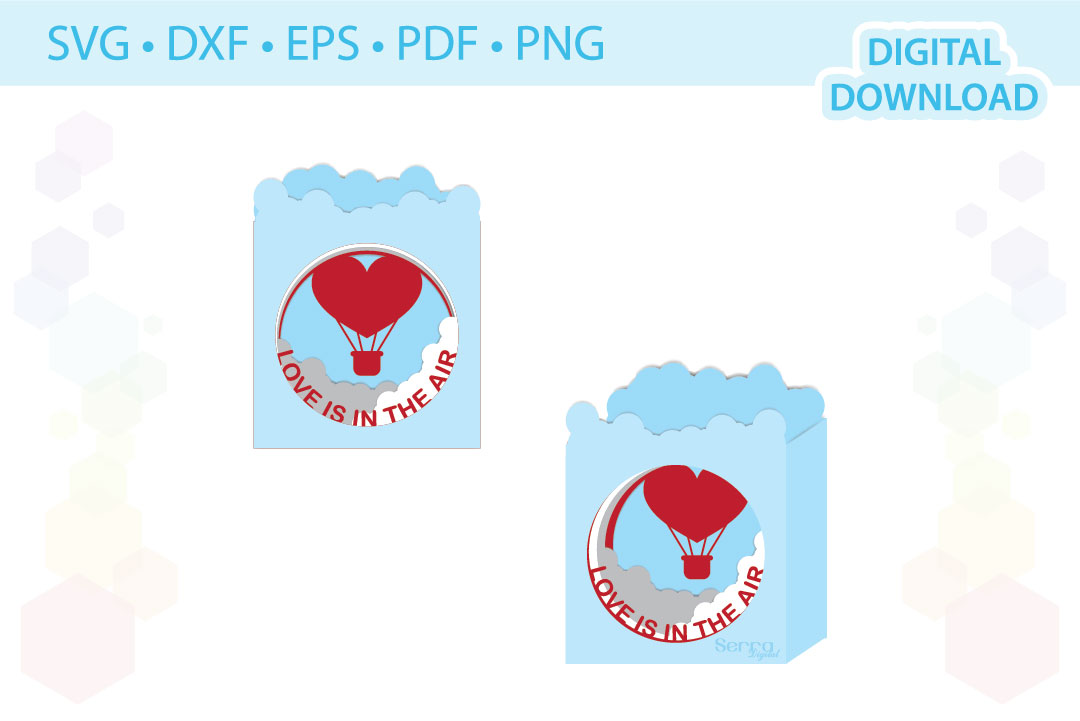 Download Free Love Is In The Air Tunnel Card Cut File Graphic By Serradigital for Cricut Explore, Silhouette and other cutting machines.