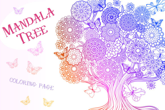 Download Free Mandala Tree Coloring Page Graphic By Tatiana Cociorva for Cricut Explore, Silhouette and other cutting machines.