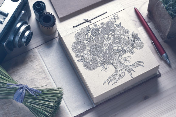 Mandala Tree Coloring Page Graphic Download