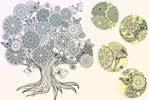 Mandala Tree Coloring Page Graphic Item