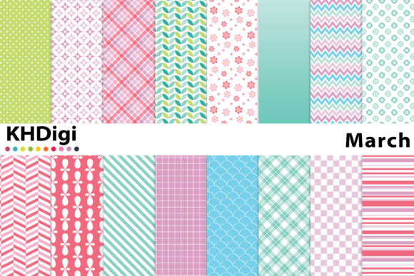 Print on Demand: March - Pretty Digital Paper Graphic Backgrounds By KHDigi