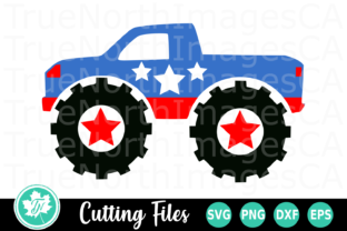 Download Free Monster Truck An Americana Graphic By Truenorthimagesca for Cricut Explore, Silhouette and other cutting machines.