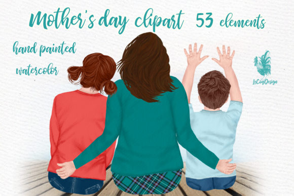 Mother and Kids Mother's Day Clipart Graphic Illustrations By LeCoqDesign