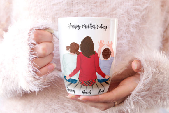 Mother and Kids Mother's Day Clipart Graphic Illustrations By LeCoqDesign - Image 6