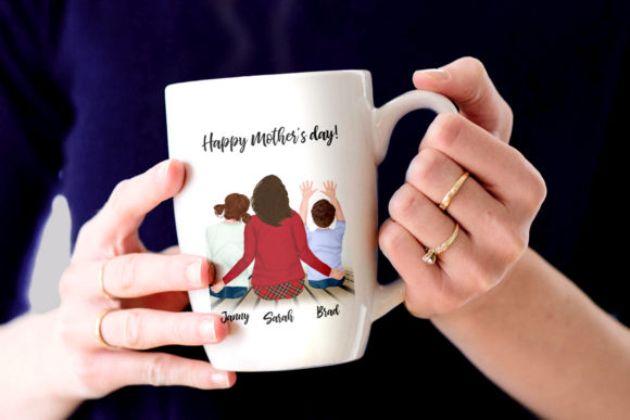Mother and Kids Mother's Day Clipart Graphic Illustrations By LeCoqDesign - Image 7