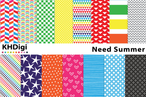 Download Free Need Summer Bright Digital Paper Graphic By Khdigi Creative for Cricut Explore, Silhouette and other cutting machines.