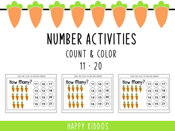 Number Activities: Count and Color 11-20 Graphic PreK By Happy Kiddos