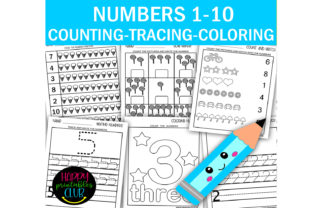 Numbers 1-10 Counting-Tracing-Coloring Graphic K By Happy Printables Club