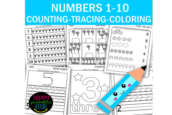 Print on Demand: Numbers 1-10 Counting-Tracing-Coloring Graphic K By Happy Printables Club