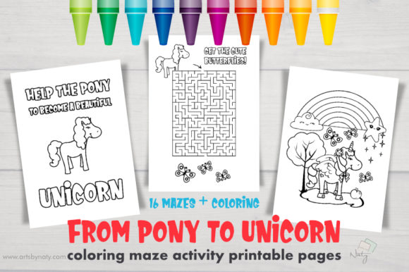 Download Free Pony To Unicorn Coloring Maze Activity Graphic By Artsbynaty for Cricut Explore, Silhouette and other cutting machines.