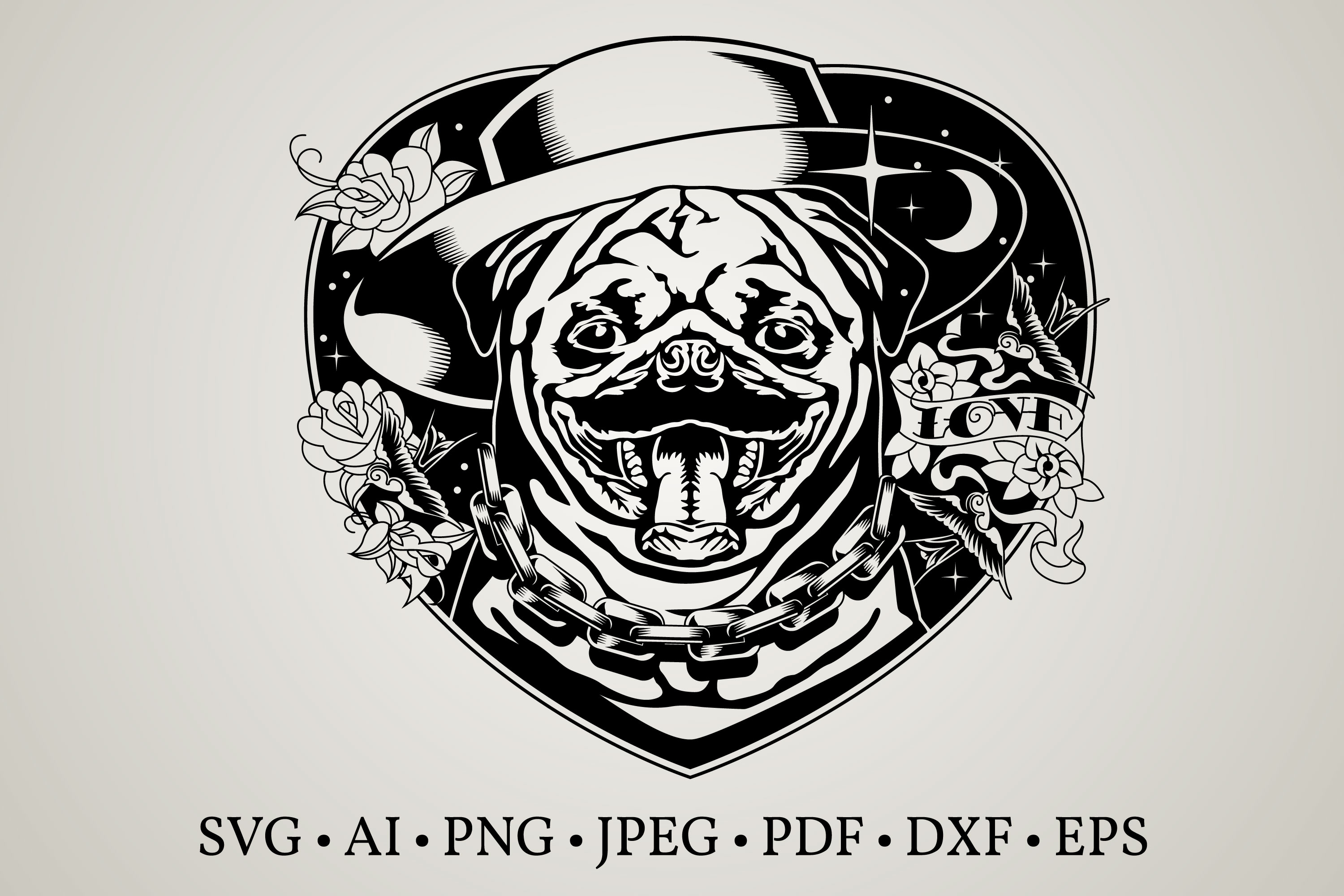 Download Free Pug Face Clipart Graphic By Euphoria Design Creative Fabrica for Cricut Explore, Silhouette and other cutting machines.