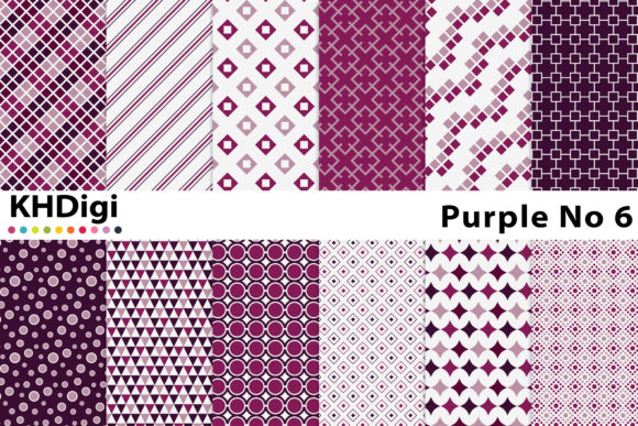 Download Free Purple No 6 Digital Paper Graphic By Khdigi Creative Fabrica for Cricut Explore, Silhouette and other cutting machines.