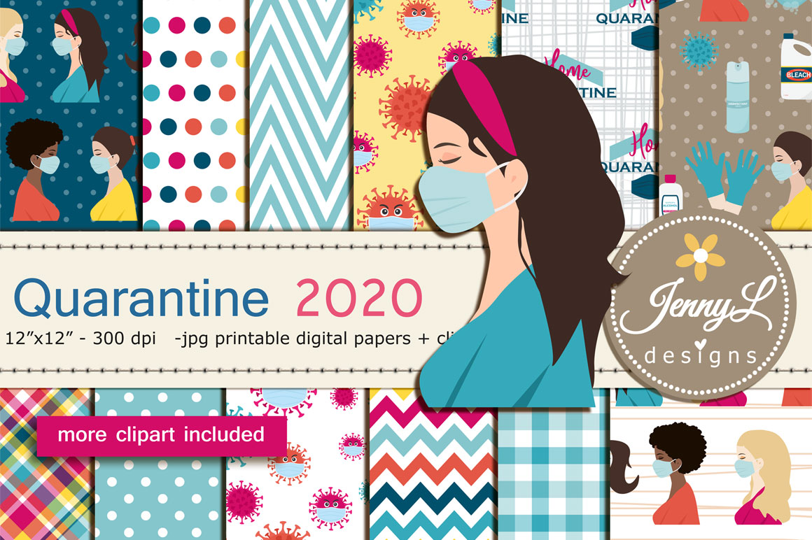 Download Free Quarantine Digital Papers Clipart Graphic By Jennyl Designs for Cricut Explore, Silhouette and other cutting machines.
