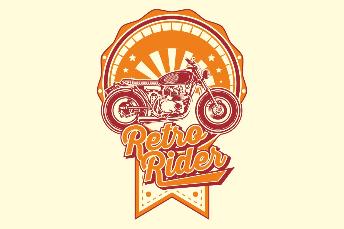 Download Free Retro Rider With Motorbikes Vintage Graphic By Epic Graphic for Cricut Explore, Silhouette and other cutting machines.