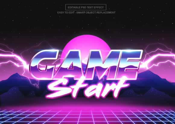 Retro Game Text Effect Graphic Graphic Templates By knou