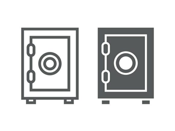 Download Free Safe Box Line And Glyph Icon Graphic By Anrasoft Creative Fabrica for Cricut Explore, Silhouette and other cutting machines.