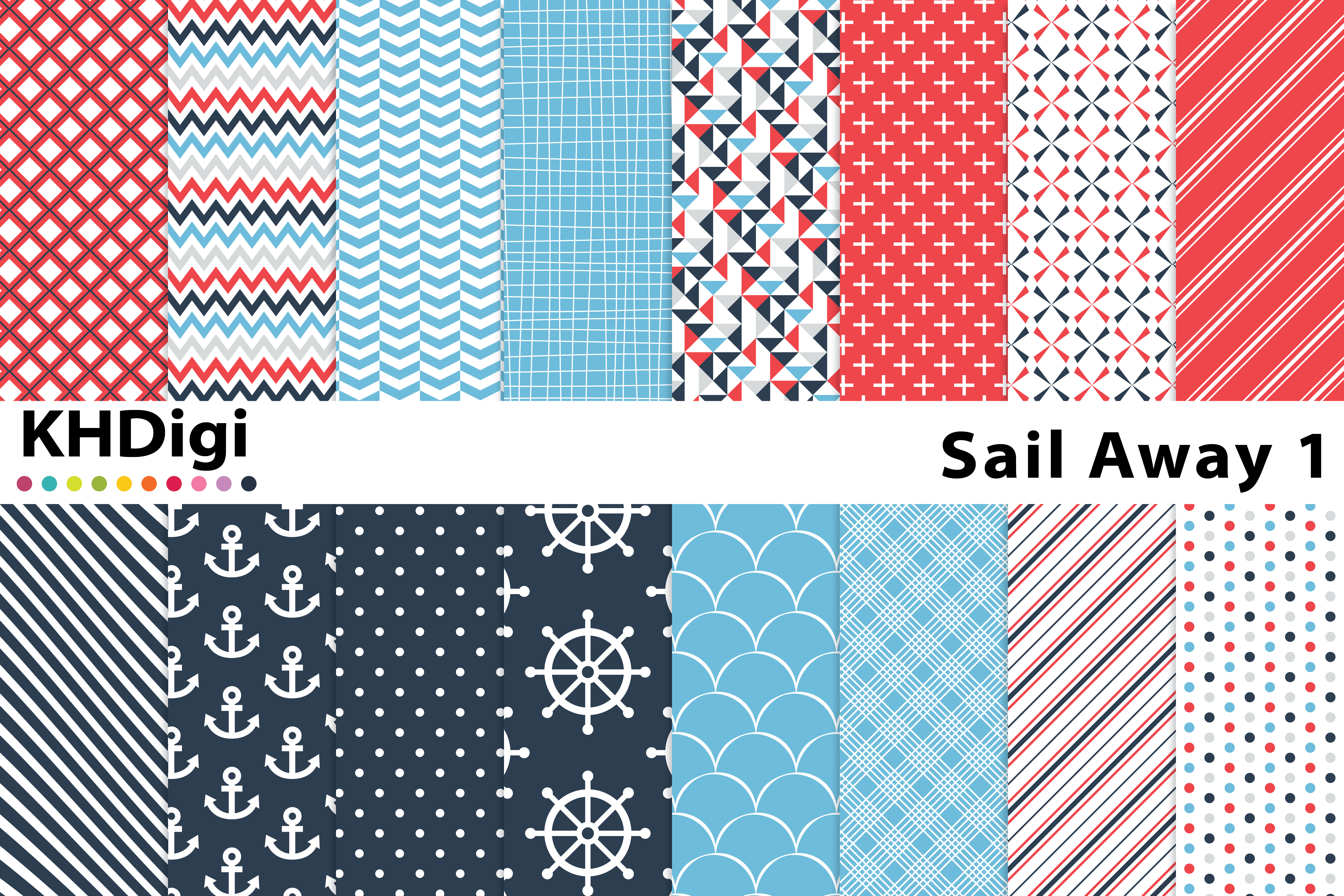 Download Free Sail Away 1 Digital Paper Graphic By Khdigi Creative Fabrica for Cricut Explore, Silhouette and other cutting machines.