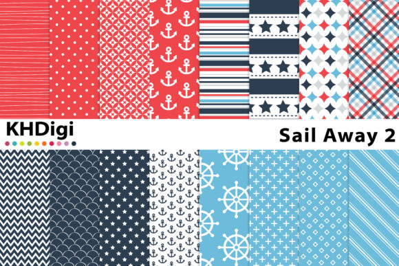 Print on Demand: Sail Away 2 Digital Paper Graphic Backgrounds By KHDigi