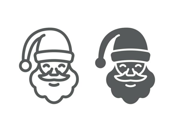 Download Free Santa Claus Line And Glyph Graphic By Anrasoft Creative Fabrica for Cricut Explore, Silhouette and other cutting machines.