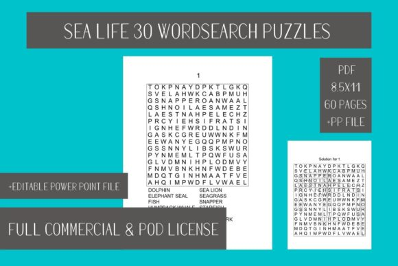 Sea Life Word Search 30 Pages Solutions Graphic By Fleur De