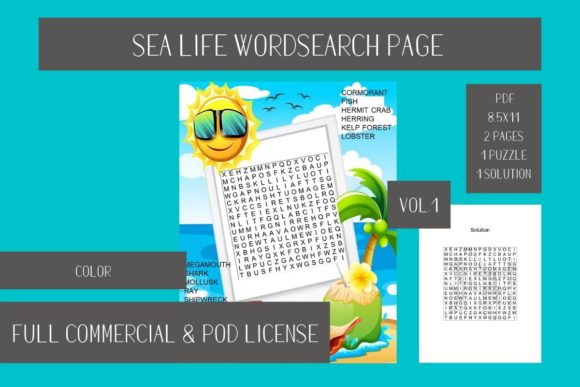 Print on Demand: Sea Life Wordsearch Page Vol1 Graphic Teaching Materials By Fleur de Tango