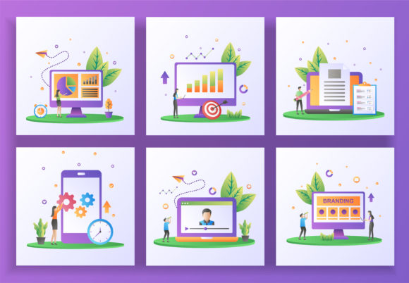 Set of Flat Design Concept. Graphic Graphic Templates By efosstudio