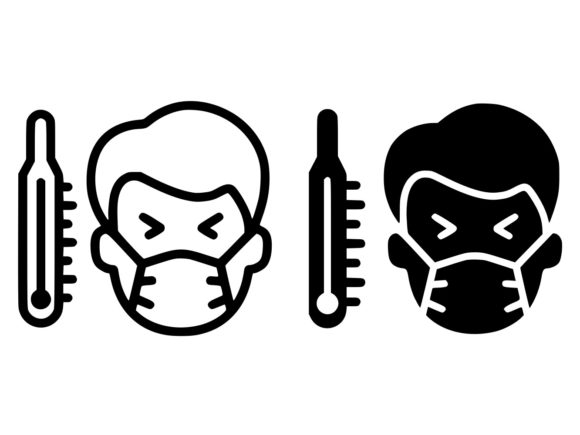 Download Free Sick Man With Thermometer Line And Glyph Graphic By Anrasoft for Cricut Explore, Silhouette and other cutting machines.