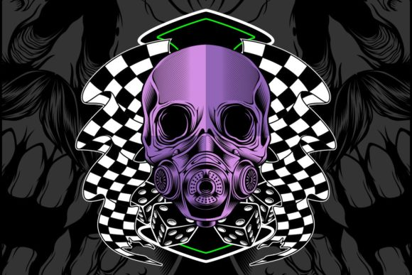 Download Free Skull Violet With Race Flag Graphic By Epic Graphic Creative for Cricut Explore, Silhouette and other cutting machines.