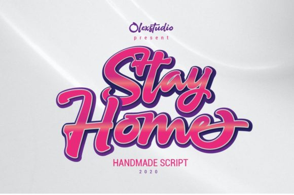 Print on Demand: Stay Home Script & Handwritten Font By Olexstudio