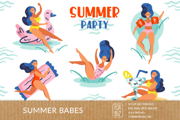 Print on Demand: Summer Girls Clipart. Digital Prints. Graphic Illustrations By FoxBiz