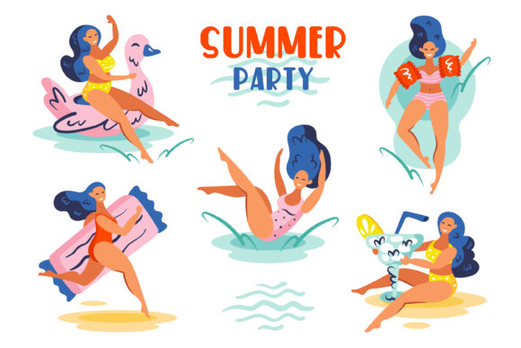 Download Free Summer Girls Clipart Digital Prints Graphic By Foxbiz for Cricut Explore, Silhouette and other cutting machines.