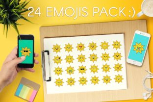 Print on Demand: Sunny Sun Emoji Set Graphic Objects By barsrsind