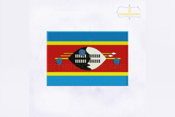 Swaziland Flag Africa Embroidery Design By RoyalEmbroideries