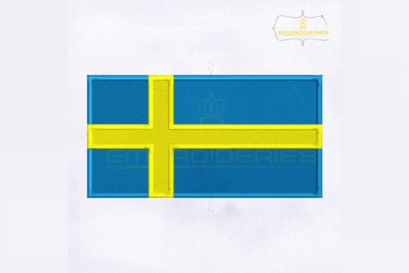 Sweden Flag Europe Embroidery Design By RoyalEmbroideries