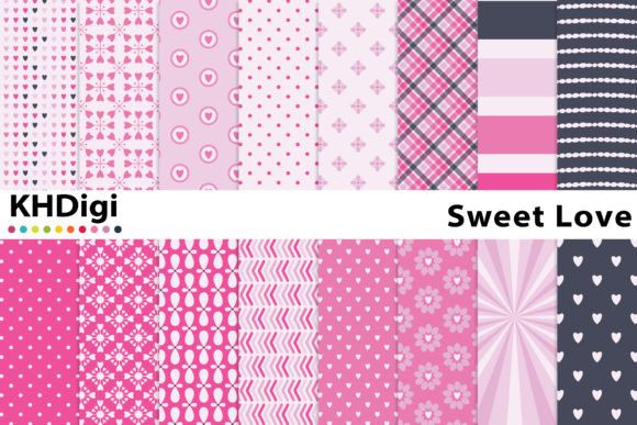 Print on Demand: Sweet Love Digital Paper Graphic Backgrounds By KHDigi