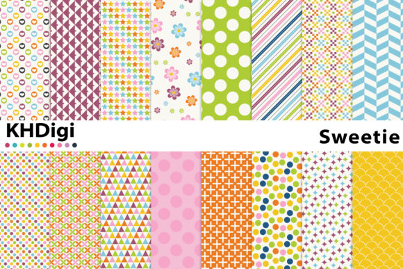 Print on Demand: Sweetie Digital Paper Graphic Backgrounds By KHDigi