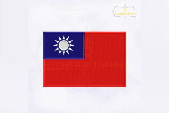 Taiwan Flag Asia Embroidery Design By RoyalEmbroideries
